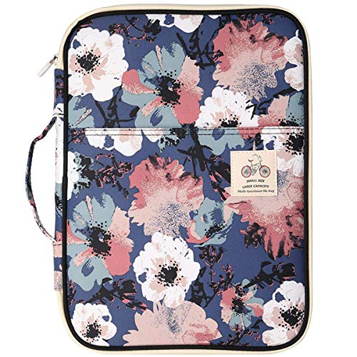 (Multi Function A4 Document Bag Travel Portfolio Waterproof Business File Holder Organizer for Passport, Fire HD 7, Samsung Galaxy Tab, Business Cards, Notebooks (Flower))
