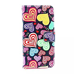 """Savegood Colorful Love Heart Smart Slim Flip Leather Wallet Card Slot Case Cover For Apple 4.7"""" iPhone 6"""