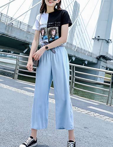 YFLTZ Pantalon Jeans Street Chic pour Femme - Couleur Unie Light Blue