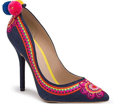 Pompoms High Pompoms Pump High Multicolor Pump Embroidered Heel Heel Embroidered Multicolor SawIRqtWg