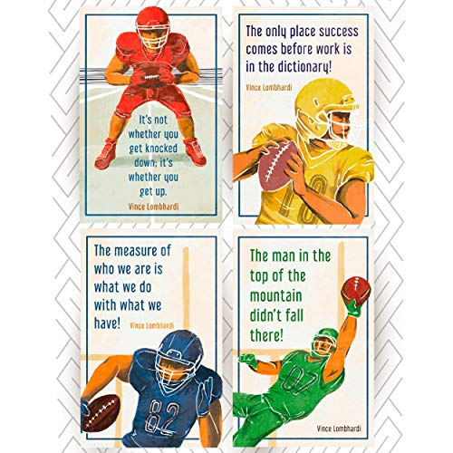 Throwback Traits American Football Posters Vince Lombardi Inspirational & Motivational Phrases. Great Inspirational Gift for Boys Who Love Sports and Want to Become Super Stars