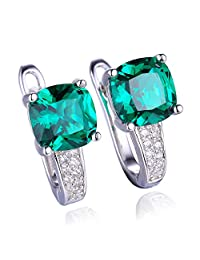 JewelryPalace Cushion 3.1ct Simulated Green Russian Nano Emerald Clip On Hoop Earrings 925 Sterling Silver