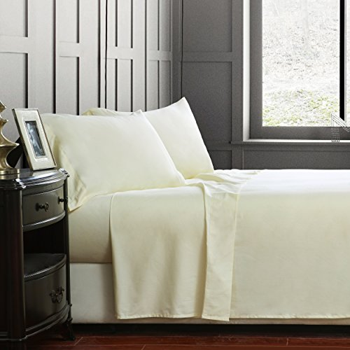 Luxury 4-Piece Bed Sheet Set 100% Cotton 1000 Thread Count-Ultra Soft,Hypoallergenic & Breathable,Queen Size Cream (Cream Color: King Size)