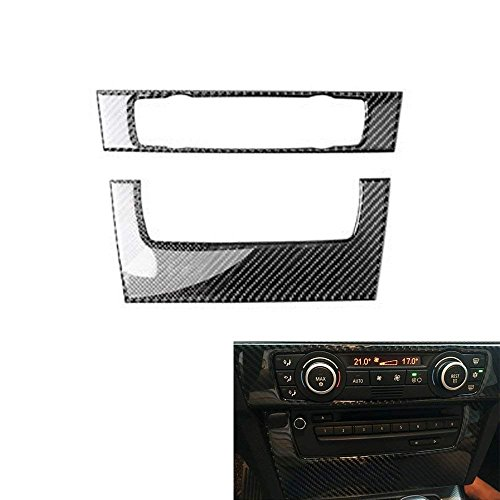 Thor-Ind Carbon Fiber AC Air Conditioning CD Player Panel Cover Trim Frame For BMW Old 3 Series E90 E92 E93 2005-2012 Car Interior Decoration Stickers (With Navigation B) ()