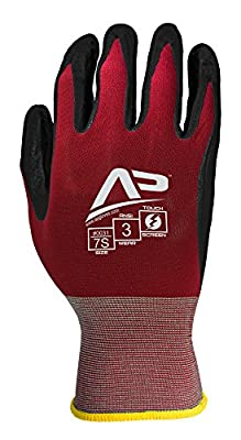 Apollo Performance Work Gloves, Ultra Sheer Assembly Multi-Task Glove with Smooth Nitrile, 18 Gauge Nylon Knit, Touch Screen Capabilities with Lightning Touch Technology, 1 Pair, Maroon/Black