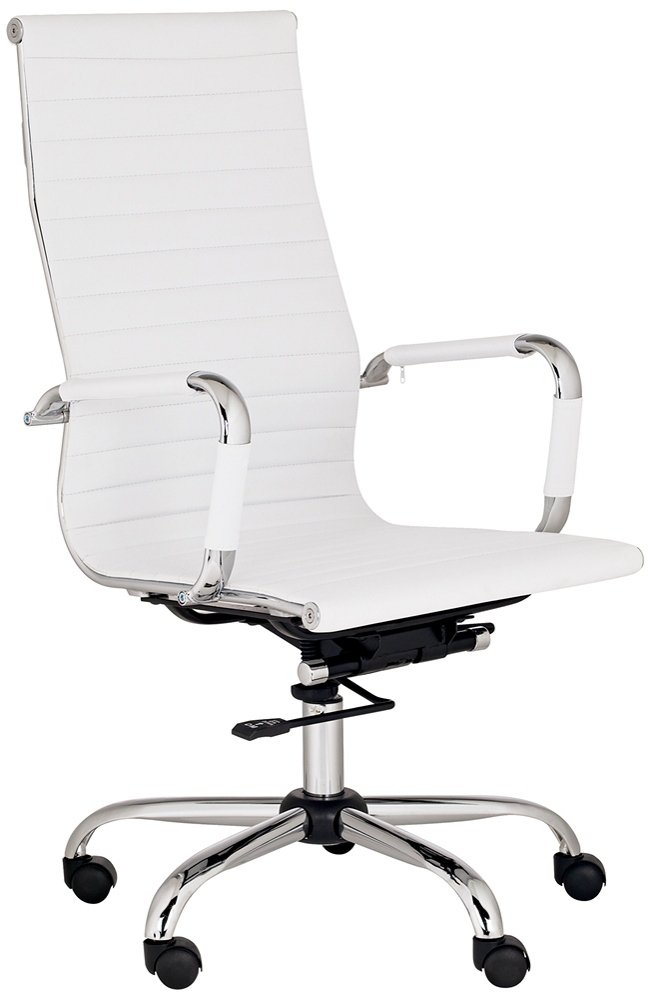 white modern desk chair