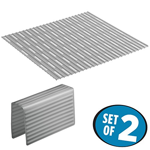 mDesign Kitchen Sink Protector Mat Pad Set, Quick Draining -