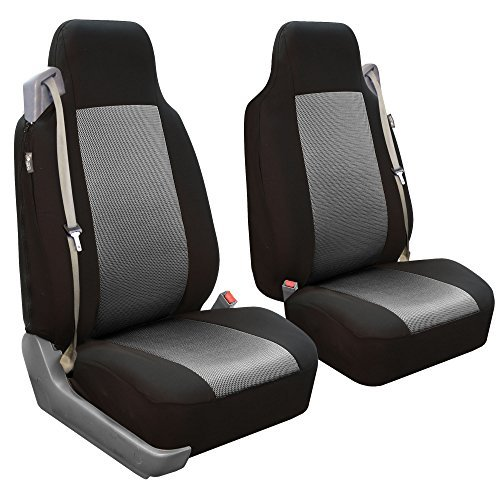 FH Group FB302GRAY102 Gray Classic Cloth Built-in Seatbelt Compatible High Back Seat Cover, Set of 2 by FH Group