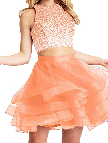 Piece Dresses Shop Short BS028 Ball Gowns Bonnie Prom Bonnie Homecoming Coral Open Two Back Sexy 2018 Beaded xqw4AYdIdS
