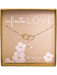 Infinity Necklace, Two Tone Interlocking Circles in Sterling Silver and Gold Filled, Infinite Love