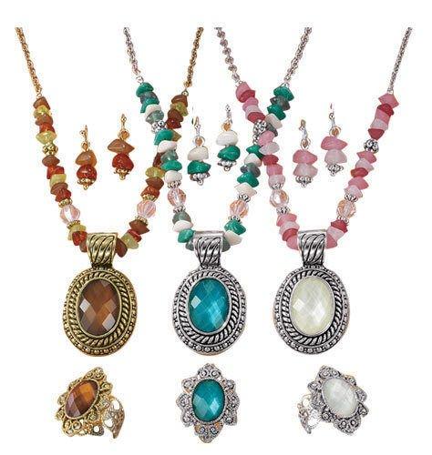 Avon Beaded Chain Medallion Gift Set Avon Brown Necklace