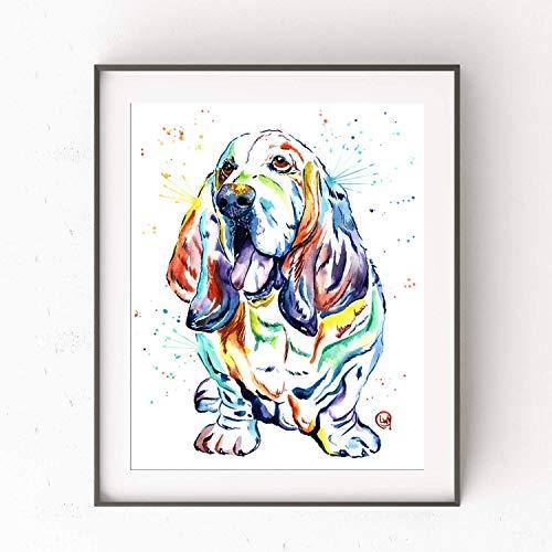 Basset Hound Wall Art by Whitehouse Art | Hound Dog, Basset Hound Gifts, Dog Art | Professional Art Print of Basset Hound Original Watercolor | Dog Gifts | 2 Sizes ()