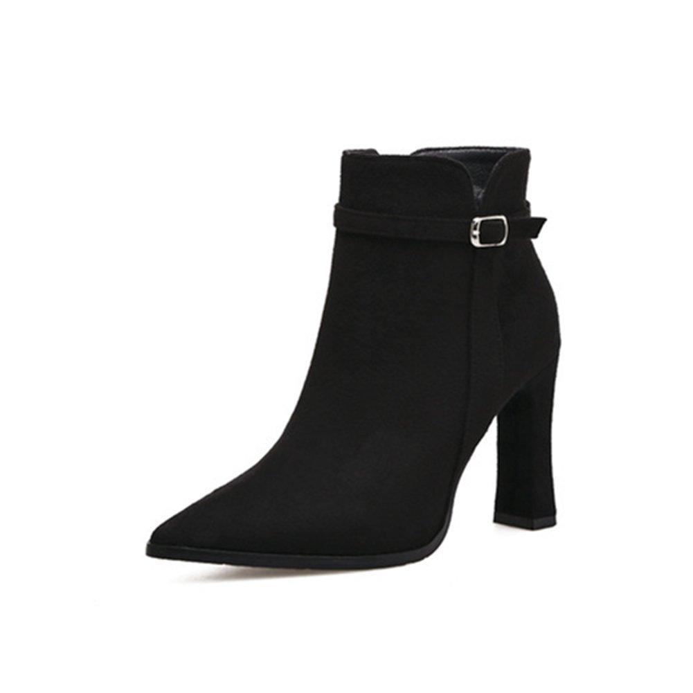 Spitz Stiefe für Damen - Mode Blockabsatz Veloursleder-Optik Ankle Boots Fleece Gefüttert Warm Winter Herbst Stiefel Schuhe Schwarz 1