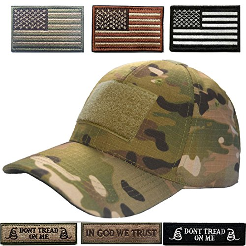 Lightbird Tactical Cap Adjustable Hunting Hat and 6 Pieces Tactical Flag Morale Patches with Velcro