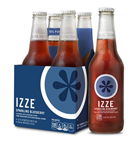 IZZE Sparkling Juice, Blueberry, 12 oz Glass Bottles, 4 Count