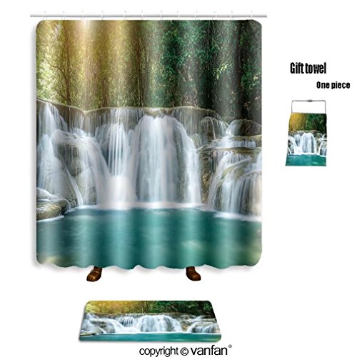 vanfan bath sets with Polyester rugs and shower curtain huay mae khamin waterfall in tropical forest shower curtains sets bathroom 60 x 78 inches&23.6 x 15.7 inches(Free 1 towel and 12 hooks)