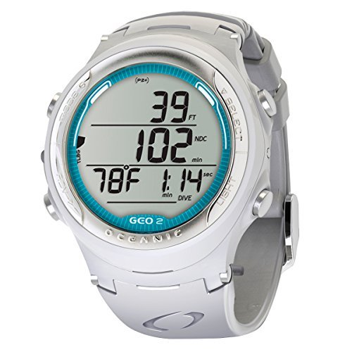 Oceanic Geo 2.0 Air/Nitrox Dive Computer Watch - WHITE/SEA BLUE DECAL w/Coil Lanyard