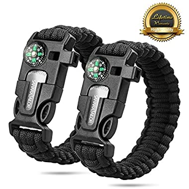 2PCS PACK Multifunctional Paracord Bracelet, Sahara Sailor Outdoor Survival Kit Parachute Cord Buckle W Compass Flint Fire Starter Scraper Whistle for Hiking Camping Emergency More