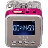 Rainbow LCD Display Digital Cube Mini Digital Portable Music MP3/4 Player Micro SD/TF USB Disk Speaker FM Radio -Rose