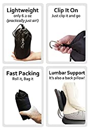 AirComfy Inflatable Multi-Purpose Travel Pillow - Ergonomic Neck and Lumbar Support for Prevention of Cervical and Lower Back Pain - Includes Airplane Travel Packsack and Luggage Clip - Black