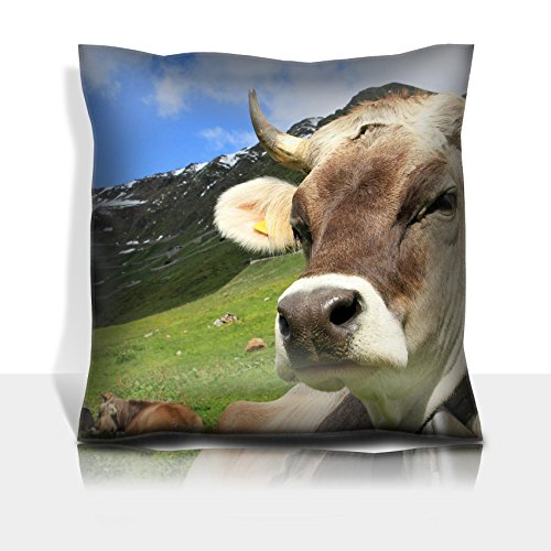 Liili Throw Pillowcase Polyester Satin Comfortable Decorative Soft Pillow Covers Protector sofa 16x16, 1pack IMAGE ID: 27290471 A pretty cow with horns and bell