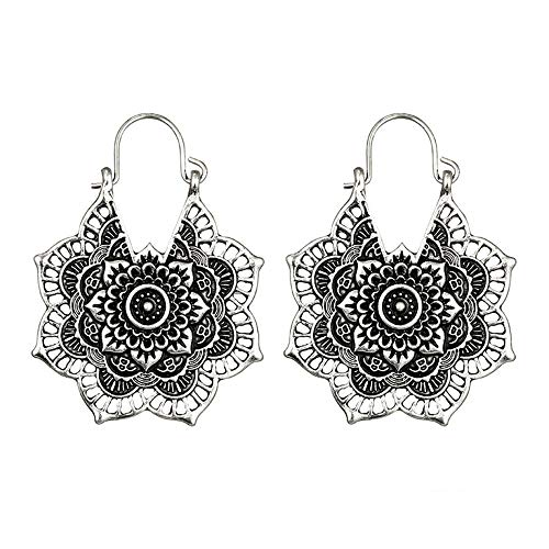 YOMXL Women Alloy Earrings,Vintage Bohemian Openwork Flower Mandala Earrings Indian Tribal Ethnic Hoop Dangle Drop Earrings