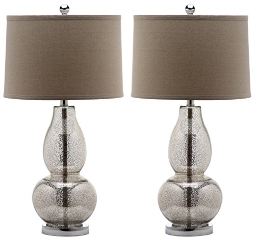 (Safavieh Lighting Collection Mercurio Antique Silver Double Gourd 28.5-inch Table Lamp (Set of 2))