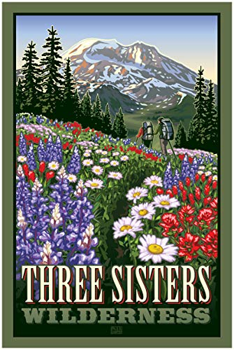 Three Sisters Wilderness Travel Art Print Poster by Paul Leighton (30