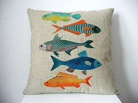 Hidoon® Moda Decorativa de algodón Lino Cuadrado Manta Funda de Almohada Funda de cojín Colorido Pescado 18