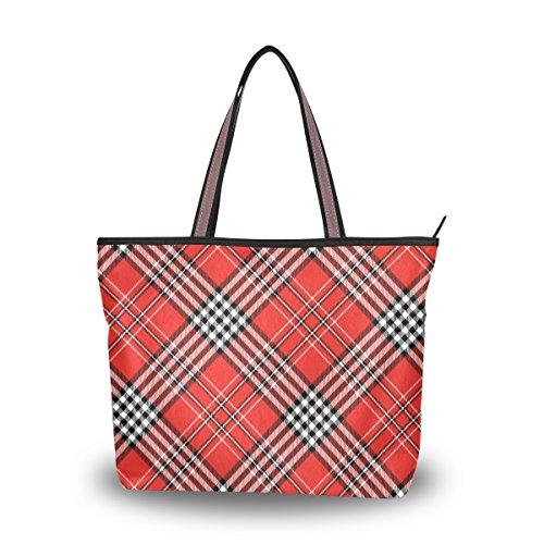 My Daily Women Tote Shoulder Bag Plaid Gingham Checkered Handbag Medium ()