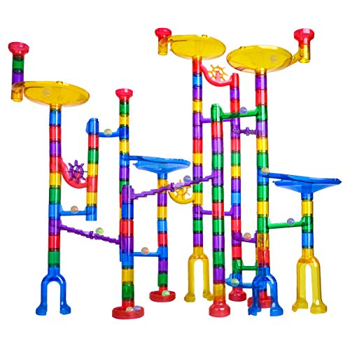 Meland Marble Run - 122Pcs Marble Maze Game Building Toy for Kid, Marble Track Race Set&STEM Learning Toy Gift for Boy Girl Age 4 5 6 7 8 9+ (102 Translucent Marbulous Pcs & 20 Glass Marbles)