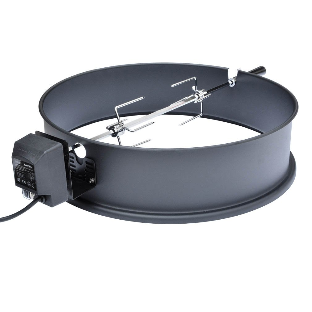 Onlyfire Universal High-Temp Resistance Black Coated Steel Charcoal Kettle Rotisserie Ring Kit for Weber 2290 and Other Models by only fire
