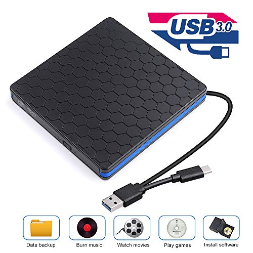 External CD Drive with USB 3.0 & Type-C, Optical Drive for USB C VCD/DVD/CD -ROM/ -R/ +R /-RW with High Speed, CD Burner/Reader/Writer, Suitable for Windows/Linux/MAC OS (B) (Tray Cd Player)