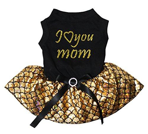 Petitebella I Love You Mom Black Shirt Gold Mermaid Tutu Puppy Dog Dress ()