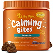 #LightningDeal Calming Treats For Dogs - Anxiety Composure Relief with Suntheanine - Organic Kelp & Valerian Root + L Tryptophan for Dog Stress & Separation Aid in Fireworks, Thunder + Chewing & Barking - 90 Chews
