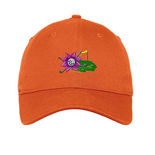 Sport Golf Ladies Flower Logo Embroidery Unisex Adult Flat Solid Buckle Cotton 6 Panel Low Profile Hat Cap - Orange, One Size