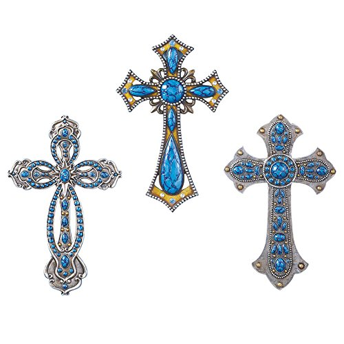 Collections Etc Western Turquoise Wall Cross - Set of - Wall Cross Western