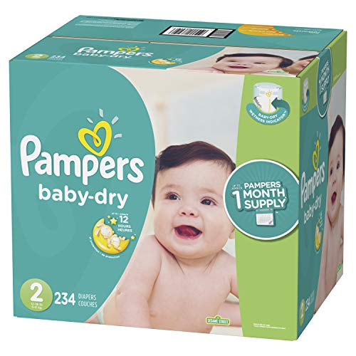 Pampers Baby Dry Disposable Baby Diapers, Size 2, 234 Count, ONE MONTH SUPPLY