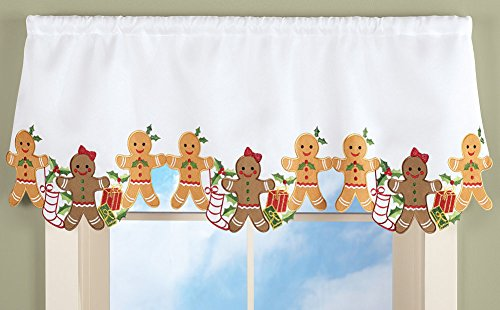 Embroidered Gingerbread Window Valance Christmas Holiday Winter Cookie Kitchen