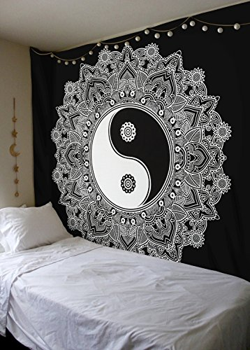 White Hangings Wall - Black And White Tapestry, YinYang Wall Hanging Tapestry, Mandala Tapestries, Indian Traditional Cotton Printed Bohemian Hippie Large Wall Art by SheetKart