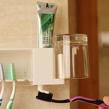 Amazon.com : Multi-function Bathroom Toothbrush Gargle Toothpaste Holder BML Brand // Multi-función de baño cepillo de dientes titular de pasta de dientes ...
