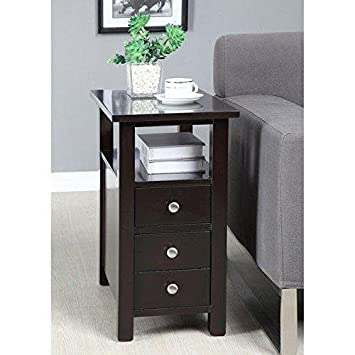 Modern Narrow Nightstand Wooden Dark Espresso Wenge Chair Side Table with  2-Storage Drawers -