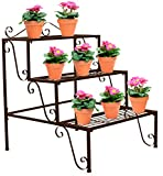 Sorbus 3-Tier Flower Plant Stand - Rectangular Shelf Step Design – Ideal Flower Pot Holder for Home, Garden, Patio, Plant Lovers, Housewarming, Mother's Day (3 Step (Bronze))