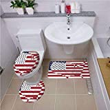 Bath Rug Set,American Flag Decor,America Continent Shaped Flag Martial International World Glory Print,Navy Red,Non-Slip Soft Absorbent Bath Rug
