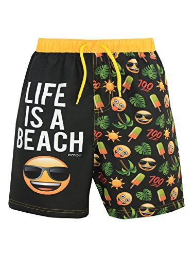 - emoji Boys' Sun & Palm Trees Swim Shorts Black Size 10