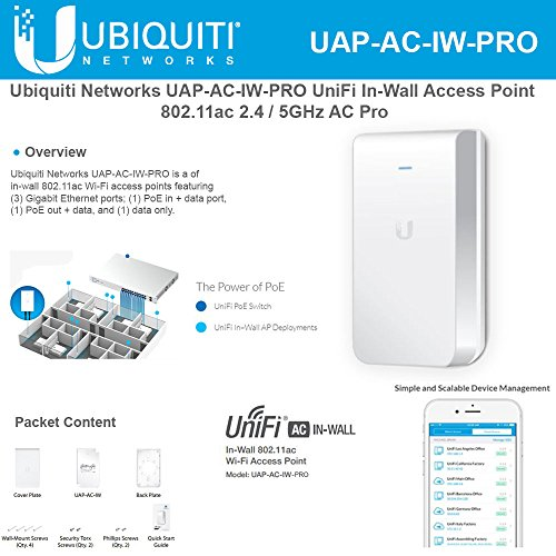 Ubiquiti Networks UniFi In-Wall Access Point UAP-AC-IW-PRO 802.11ac 2.4 / 5GHz AC (In Wall Access Point)