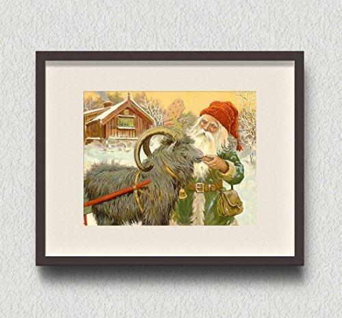 Santa Claus and Goat Vintage Art Print 8x10 Joulupukki Christmas Yule ()