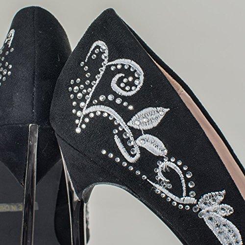 Faux W Heel Embroidery In Black Blossom Suede Pump Metal Rhinestone Metallic High Embellishment amp; Iv1n7w