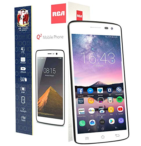 "RCA Q2 Android 9.0 Pie, 5.0"" HD, 4G LTE, 16GB, 8MP 5MP Dual Camera, Dual Sim, Unlocked Smartphone (White)"