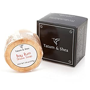 Vintage Shaving Soap: Ultra Rich Men's Shave Soap with Shea Butter & Essential Oils, Handmade in USA in Small Batches, Light Bay Rum Scent, 3.8 Oz., Gift Boxed by Tatum & Shea (Bay Rum)
